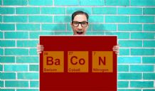 Bacon Element Periodic Table Art Pint - Wall Art Print Poster   - Purple Geekery